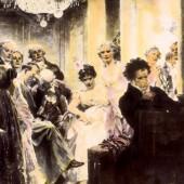 """کارل فون لیشنوسکی، یکی از شاهزادههای پرنفوذ طرفدار و حامی بتهوون بود که بعدها میانهاش با او تیره شد. یولیوس اشمیدز در سال ۱۹۰۰ تابلوی """"بتهوون نزد لیشنوسکی مینوازد"""" را کشید."""