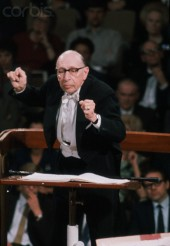 Russian born composer Igor Stravinsky conducts a concert, ca. 1968
