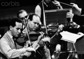 Russian violinists David and Igor Oistrakh in concert, 1961