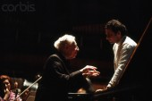 The pianist Artur Rubinstein with the American conductor and violinist Lorrin Maazel  1975